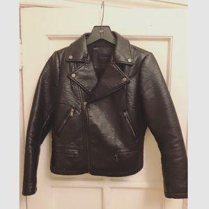 Zara Leather Motorcycle Jacket in black